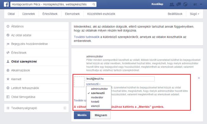 facebook szerepkör hozzáadása 2015, facebook szerepkör eltávolítása 2015