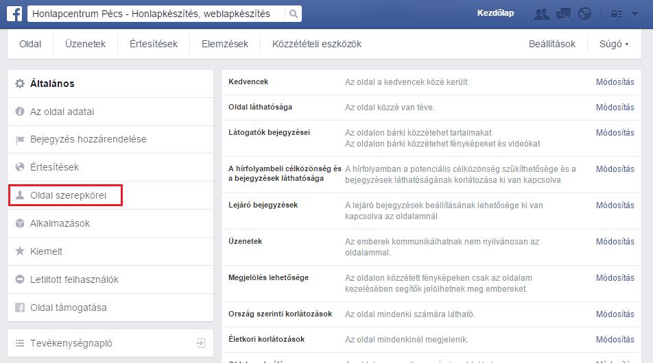 facebook szerepkörök módosítása 2015, facebook jogosultságok 2015