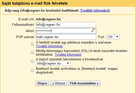 gmail felület saját e-mail címmel, gmail használata saját e-mail címmel, weblap készítés Pécs