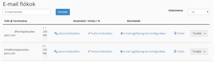 e-mail fiók módosítása, webtárhely, cPanel felület, tárhely, tárhely Pécs, webtárhely Pécs