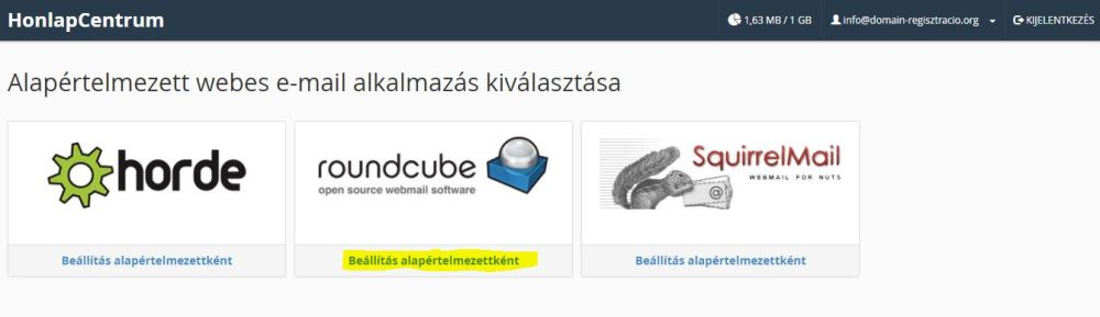 alapértelmezett webmail felület, weblap készítés, honlap készítés, honlapkészítés, weblapkészítés