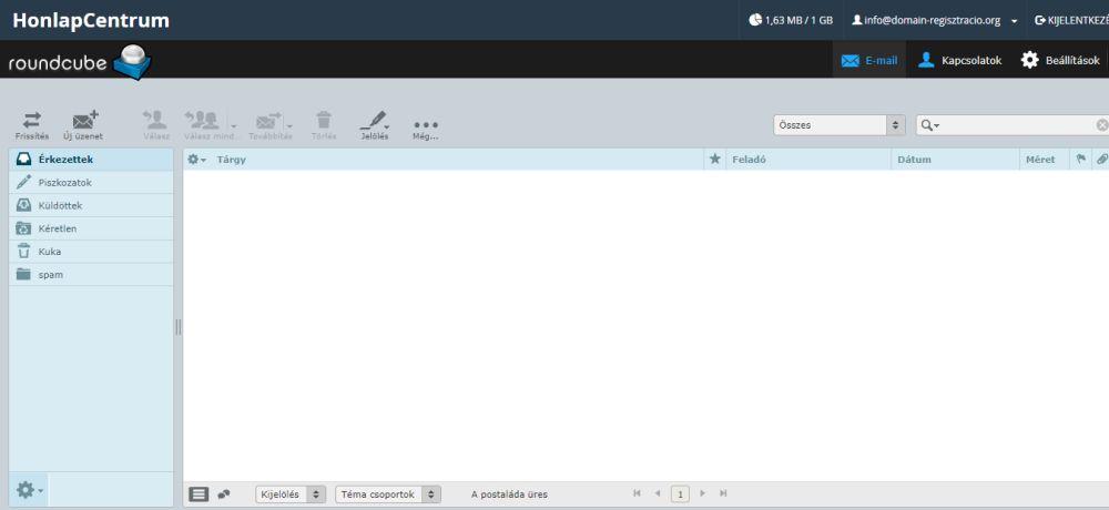 RoundCube levelező webmail, honlapkészítés, weblapkészítés, webtárhely, tárhely, tárhely csomagok